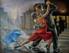 LIMITED EDITION PRINT BY ELLECTRA - TANGO FLAMENCO DANCERS/EROTIC OIL VALENTINE