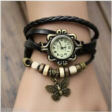 VINTAGE RETRO BRACELET LEATHER WOMEN WRIST WATCH-BUTTERFLY BLACK