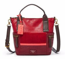 NWT❤️ Fossil Leather Medium Emerson Satchel Red Multicolor Leather Bag Crossbody