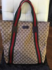 Gucci GG Canvas Tote Beige/Ebony Green And Red Web Authentic Bag