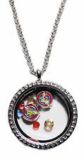 DC Comics Wonder Woman Round Crystal Floating Charms Locket Necklace