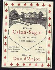ST ESTEPHE 3E GCC ETIQUETTE CHATEAU CALON SEGUR 1950/1960 CUVEE SPECIALE §15/01§
