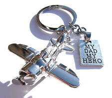 My Dad My Hero Chrome Metal Airplane Keyring Gift Boxed