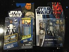 Star Wars Hasbro Clone Commander Wolffe Lot of 2 Action Figures 2011 CW48