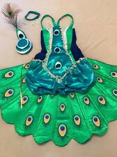 EUC adult/teens PEACOCK 4 piece Halloween Party costume 10/12/14 XS, S 0,2,4