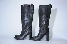 Tory Burch Black Pebbled Leather High Heel Gold Logo Rubber Sole Tall Boots 8