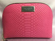 NWT VICTORIA'S SECRET LARGE PINK FAUX LEATHER MAKEUP COSMETIC BAG CASE POUCH