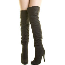 Womens Stiletto Heel Over The Knee Thigh High Boot Slouch Foldable Closed Toe US