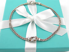 Auth Tiffany & Co Silver Double Rope Love Knot Necklace Pendant Charm Chain Rare