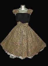 50s ROCKABILLY LEOPARD SWING DRESS 18 20 22 Plus Size Vintage Pin Up Party
