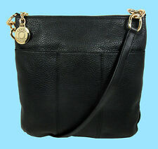 TOMMY HILFIGER TH Black Pebbled Leather Cross-Body Bag Msrp $118 * Save 68%*