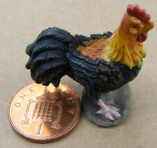 1:12 Black & Brown Dolls House Miniature Resin Cock Rooster Chicken Accessory SA