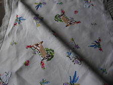 VINTAGE HAND EMBROIDERED TABLECLOTH= EXQUISITE EMBROIDERY COTTAGES & FLOWERS