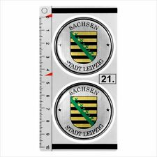 Sachsen - LEIPZIG set of 2 German Number Plate Seal Stadt 3D Domed Sticker badge