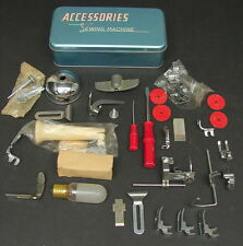 Vintage Sewing Machine Accessories Tin, Parts, Tools, Attachments Lot