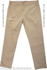 New Womens Marks and Spencer Beige Chino Trousers Size 8 LABEL FAULT