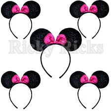 5 Minnie Mickey Mouse Bows Headband Ears Black Pink Party Costume Favors