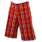 NEW MEN AUTHENTIC YO ME RED AND ORANGE CHECK SHORTS SIZE 32 & 36 YM4001RD34P001