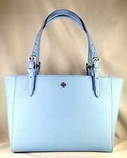 TORY BURCH YORK SMALL BUCKLE  FAIRVIEW BLUE SAFFIANO LEATHER TOTE