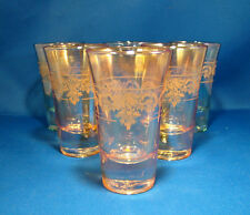 Cordial Glasses Set of 6 Italian J Preziosi Lavorato a Mano Gold & Green @23