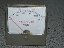 Vintage Simpson Square Panel Meter, 0-1500 Milliamperes
