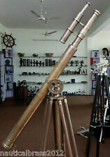 VINTAGE BRASS DOUBLE BARREL GRIFFITH ASTRO TELESCOPE WITH TRIPOD STAND