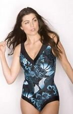 Pour Moi? Inca Control Swimsuit in Black and turquoise size 10 NEW