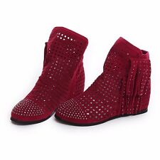 Women Suede Tassel Boots Hollow Out Round Toe Wedges Mid-Calf Design Boots Shoes
