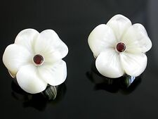 Sajen Sterling Silver Mother of Pearl Flower Clip Earrings w. Garnet