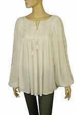 101109 Nw Floreat Anthropologie Floral Embroidered Ivory Tie Knot Blouse Top S 4