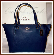 NWT $350 Coach Leather Ava Zip Tote Shoulder Tote Bag MARINA BLUE & RECEIPT '17