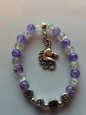 Personalised Unicorn Purple Charm Beaded Bracelet Girl Birthday Gift Party Bags