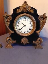 Unique Ornate Antique New Haven Iron Case Mantle Clock