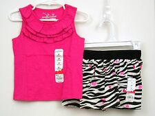 Girls Sz 2T Jumping Beans Outfit Top/Scooter Skort Zebra Print Pink Hearts NWT