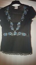 Gorgeous Next Black Green Embellished Sheer Lacey Top Size 12-14
