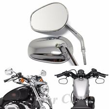 Chrome Oval Motorcycle Mirrors For Harley Davidson XL Sportster 883 1200 Custom