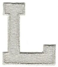 "1 7/8"" Bright Metallic Silver Monogram Block letter L Embroidery Patch"