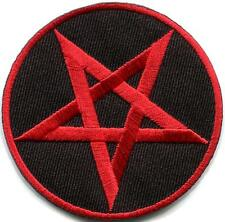 Pentagram pentacle satanic occult goth wicca witch applique iron-on patch S-1174