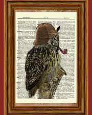 Steampunk Sherlock Owl Pipe Dictionary Curious Art Print Poster Picture OOAK