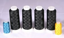 NEW FOUR X-LG CONES BLACK BOBBIN THREAD MACHINE EMBROIDERY FOR BROTHER JANOME