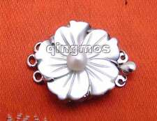 25mm Flower Natural shell with 6mm Pearl three strands Clasp-gp83