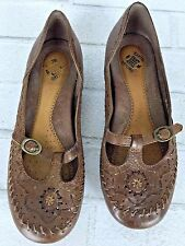 EUC LADIES EARTH ORIGINS  BROWN stitched LEATHER BALLET FLATS 5.5 mary jane