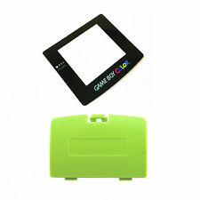 New KIWI GREEN Game Boy Color Battery Cover + New Screen Lens GBC Replacement