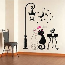 Removable Couple Cat Street Lamp Mural Wall Stickers Decals Bedroom Home Decor