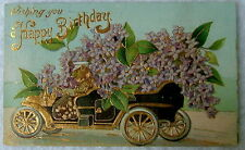1910 POSTCARD WISHING YOU A HAPPY BIRTHDAY OLD CAR LOADED FULL OF FLOWERS #dq56