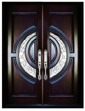 """Mahogany Double Exterior Front Entry Wood Door 580E 30""""X80""""X2 Righ Hand Swing In"""