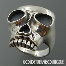 FUN CHUNKY 925 STERLING SILVER HEART NOSE HEAD SCULL BIKER MEN'S RING 11.75 3964