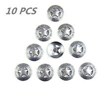 Lot of 10pcs Conchos Leathercraft Texas Star Saddle Western Rodeo Leather tack