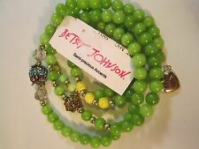 "Betsey Johnson BRACELET ""Betsey Delicates"" 4 Green Bead Stretchy Owl Pave Bead"