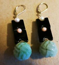 VINTAGE DECO CHINESE CARVED JADE ONYX CORAL PEARLS 14KT GOLD VALENTINE EARRINGS